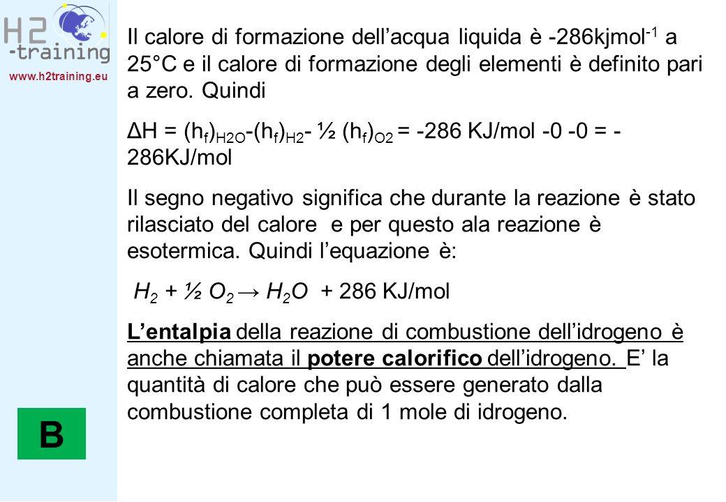 www.h2training.eu Il calore di formazione dellacqua liquida è -286kjmol -1 a 25°C e il calore di formazione degli elementi è definito pari a zero. Qui