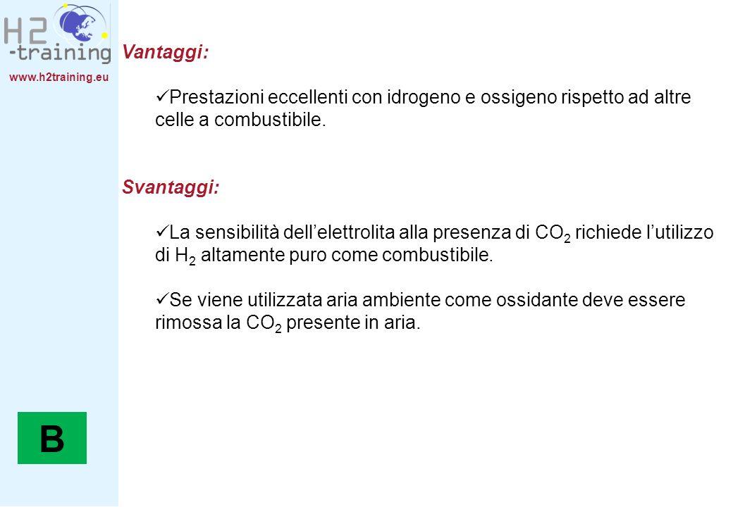 www.h2training.eu Vantaggi: Prestazioni eccellenti con idrogeno e ossigeno rispetto ad altre celle a combustibile. Svantaggi: La sensibilità dellelett