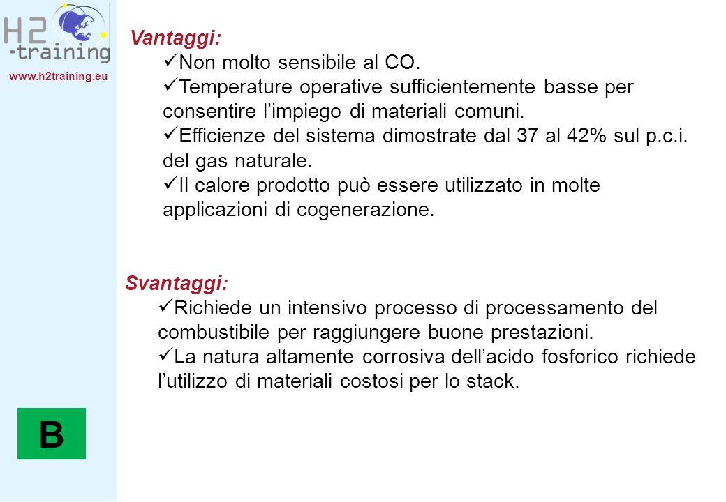 www.h2training.eu Svantaggi: Richiede un intensivo processo di processamento del combustibile per raggiungere buone prestazioni. La natura altamente c