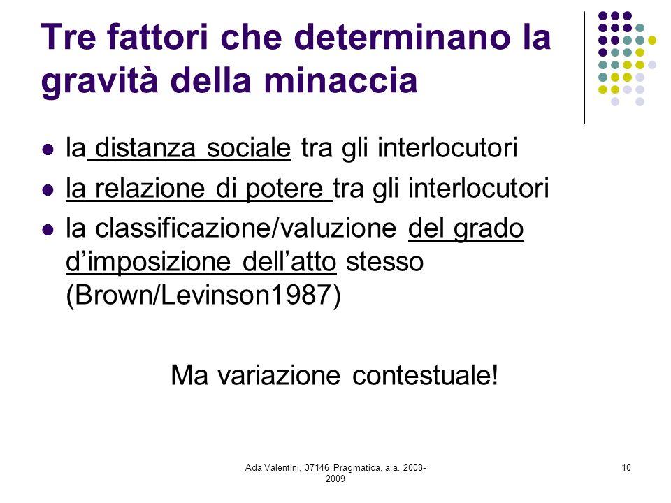 Ada Valentini, 37146 Pragmatica, a.a. 2008- 2009 10 Tre fattori che determinano la gravità della minaccia la distanza sociale tra gli interlocutori la