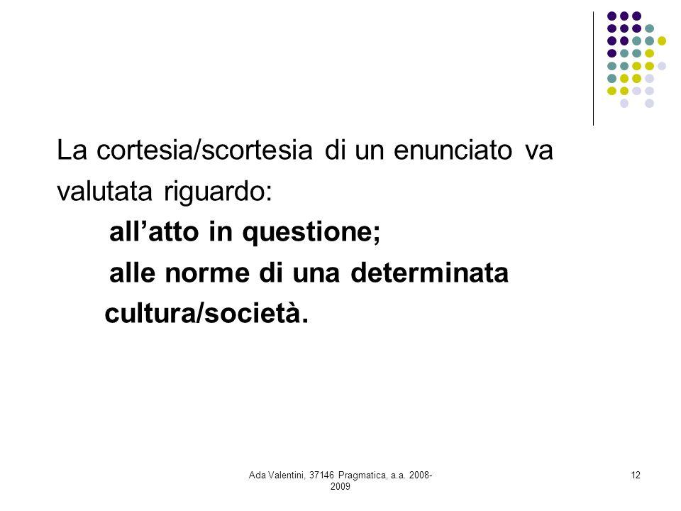Ada Valentini, 37146 Pragmatica, a.a. 2008- 2009 12 La cortesia/scortesia di un enunciato va valutata riguardo: allatto in questione; alle norme di un