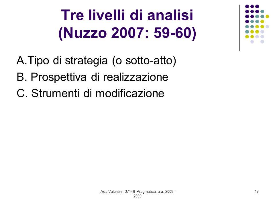 Ada Valentini, 37146 Pragmatica, a.a. 2008- 2009 17 Tre livelli di analisi (Nuzzo 2007: 59-60) A.Tipo di strategia (o sotto-atto) B. Prospettiva di re