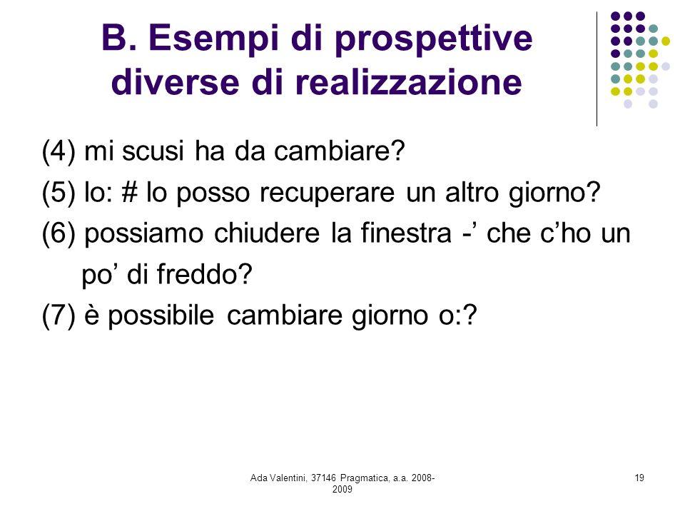 Ada Valentini, 37146 Pragmatica, a.a. 2008- 2009 19 B. Esempi di prospettive diverse di realizzazione (4) mi scusi ha da cambiare? (5) lo: # lo posso