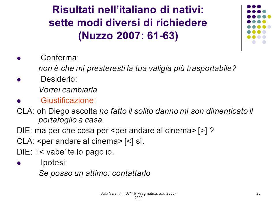 Ada Valentini, 37146 Pragmatica, a.a. 2008- 2009 23 Risultati nellitaliano di nativi: sette modi diversi di richiedere (Nuzzo 2007: 61-63) Conferma: n