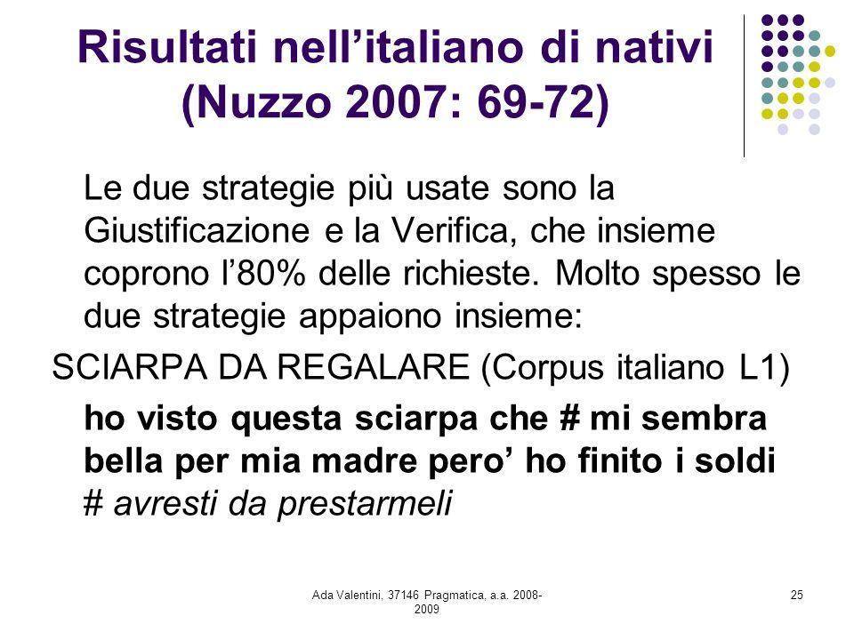 Ada Valentini, 37146 Pragmatica, a.a. 2008- 2009 25 Risultati nellitaliano di nativi (Nuzzo 2007: 69-72) Le due strategie più usate sono la Giustifica