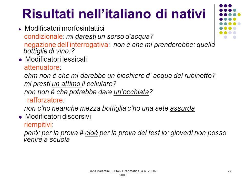 Ada Valentini, 37146 Pragmatica, a.a. 2008- 2009 27 Risultati nellitaliano di nativi Modificatori morfosintattici condizionale: mi daresti un sorso da