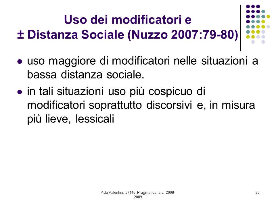 Ada Valentini, 37146 Pragmatica, a.a. 2008- 2009 28 Uso dei modificatori e ± Distanza Sociale (Nuzzo 2007:79-80) uso maggiore di modificatori nelle si