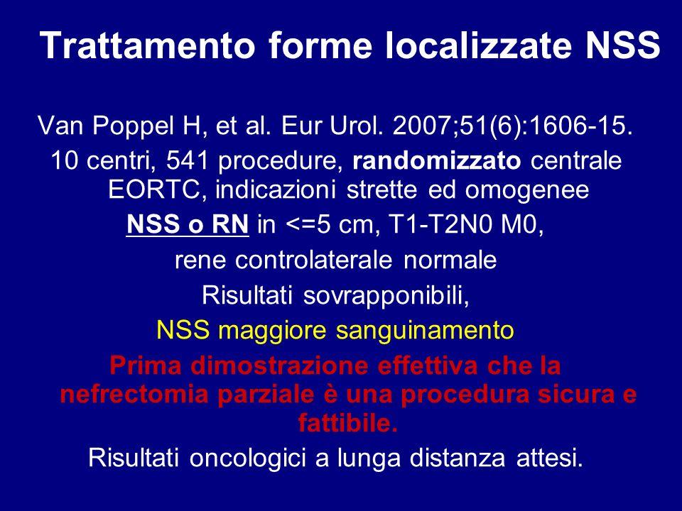 >4cm vs <4 cm Tasso di complicanze: 33.3% vs 11.6% p = 0.006 T ospedalizzazione: 4.5 vs 3.2 gg p=0.055 Elective laparoscopic partial nephrectomy in patients with tumors >4 cm.