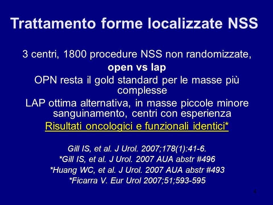 4 3 centri, 1800 procedure NSS non randomizzate, open vs lap OPN resta il gold standard per le masse più complesse LAP ottima alternativa, in masse pi