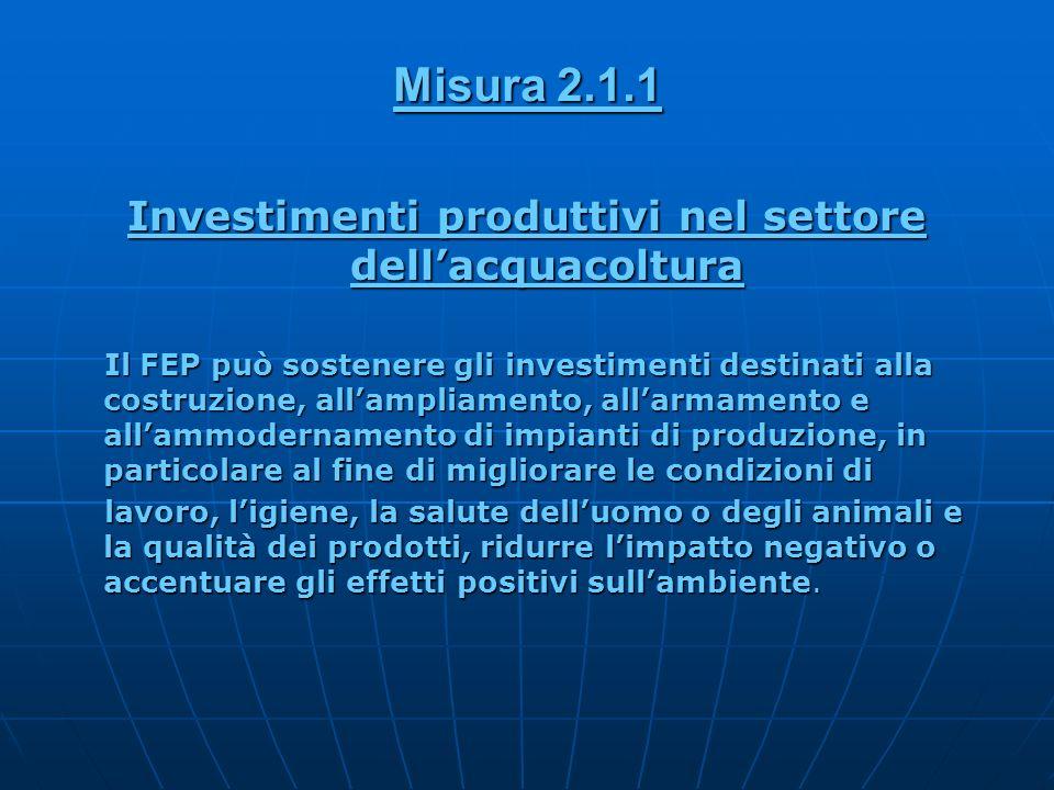Investimenti produttivi nel settore dellacquacoltura Il FEP può sostenere gli investimenti destinati alla costruzione, allampliamento, allarmamento e