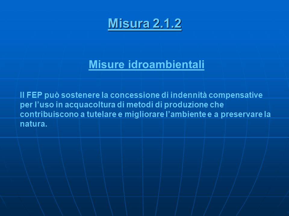 Misura 2.1.2 Misure idroambientali Il FEP può sostenere la concessione di indennità compensative per luso in acquacoltura di metodi di produzione che