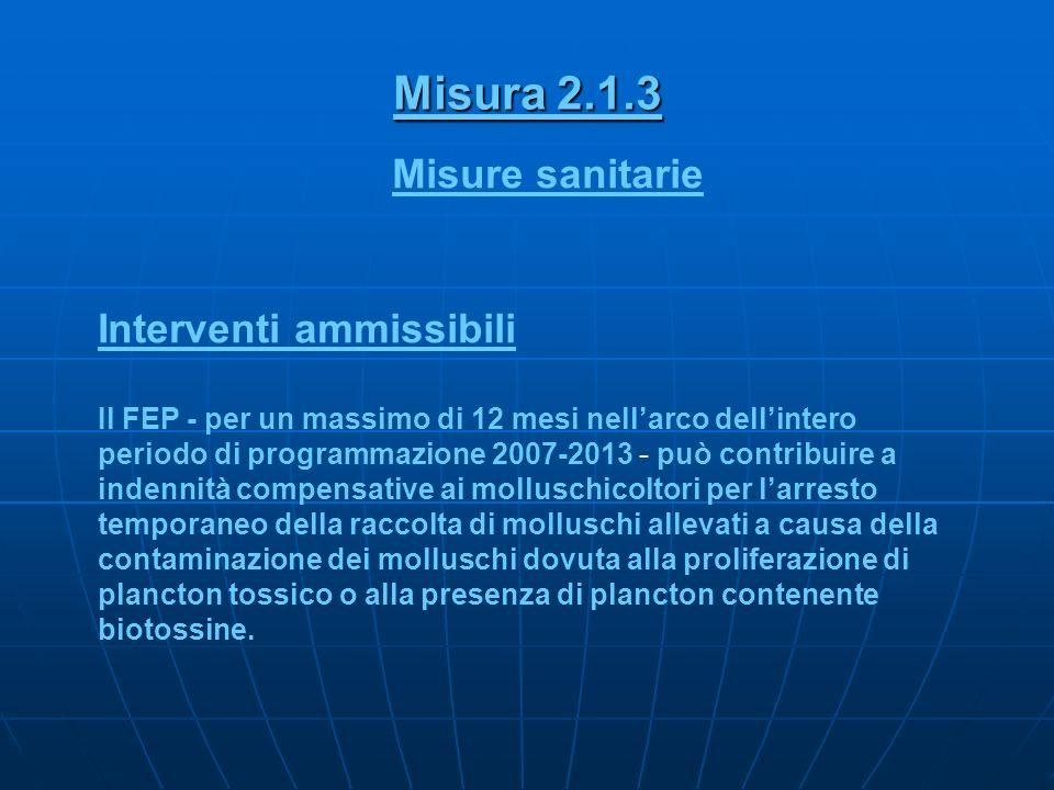 Misura 2.1.3 Misure sanitarie Interventi ammissibili Il FEP - per un massimo di 12 mesi nellarco dellintero periodo di programmazione 2007-2013 - può