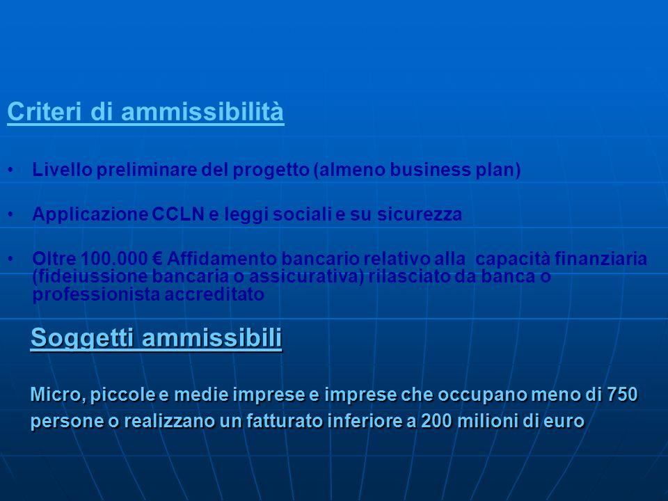 Soggetti ammissibili Micro, piccole e medie imprese e imprese che occupano meno di 750 persone o realizzano un fatturato inferiore a 200 milioni di eu
