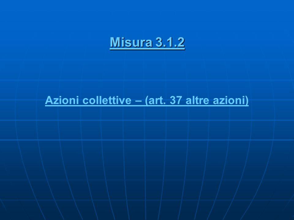 Misura 3.1.2 Azioni collettive – (art. 37 altre azioni)