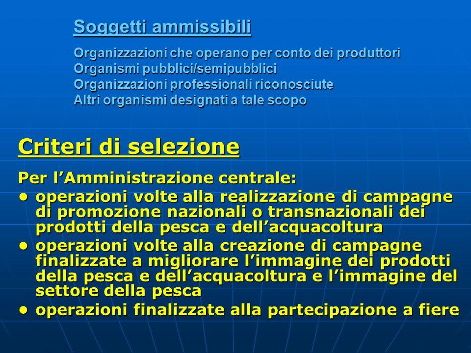 Soggetti ammissibili Organizzazioni che operano per conto dei produttori Organismi pubblici/semipubblici Organizzazioni professionali riconosciute Alt