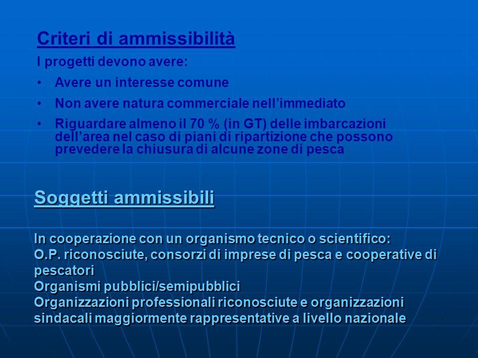 Soggetti ammissibili In cooperazione con un organismo tecnico o scientifico: O.P. riconosciute, consorzi di imprese di pesca e cooperative di pescator