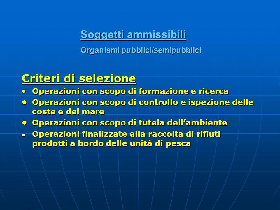 Soggetti ammissibili Organismi pubblici/semipubblici Criteri di selezione Operazioni con scopo di formazione e ricercaOperazioni con scopo di formazio