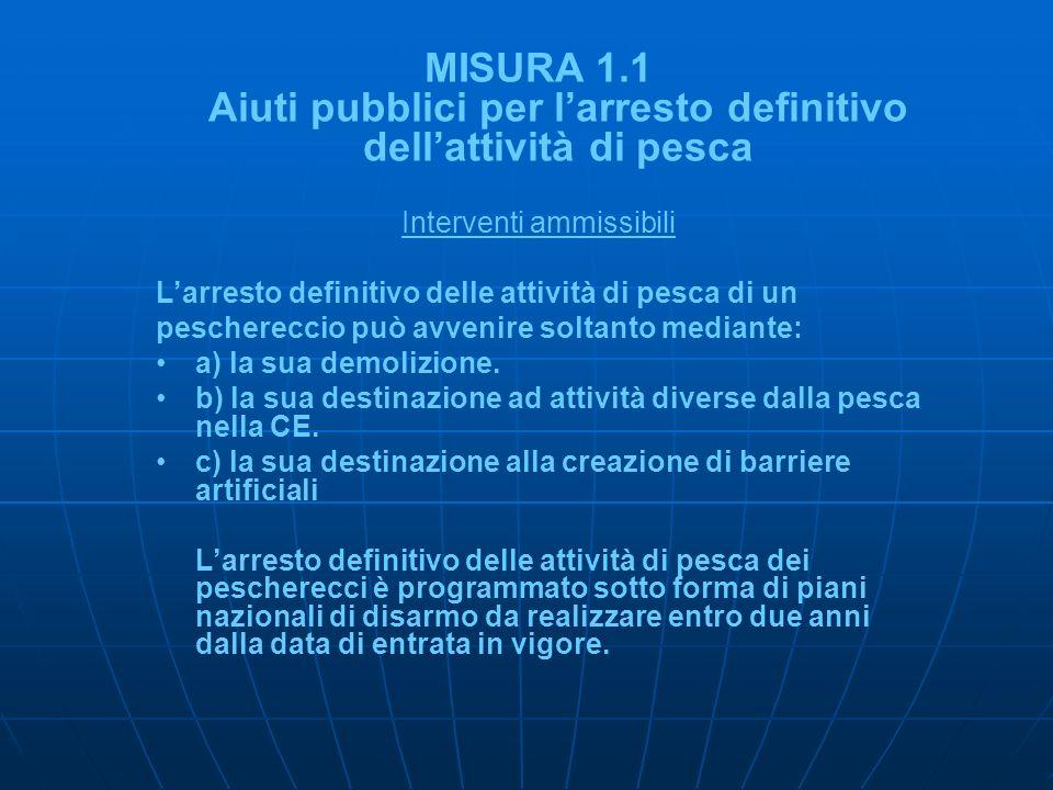 MISURA 1.1 Aiuti pubblici per larresto definitivo dellattività di pesca Interventi ammissibili Larresto definitivo delle attività di pesca di un pesch