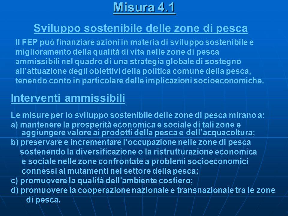 Misura 4.1 Sviluppo sostenibile delle zone di pesca Il FEP può finanziare azioni in materia di sviluppo sostenibile e miglioramento della qualità di v
