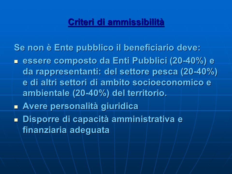 Criteri di ammissibilità Se non è Ente pubblico il beneficiario deve: essere composto da Enti Pubblici (20-40%) e da rappresentanti: del settore pesca