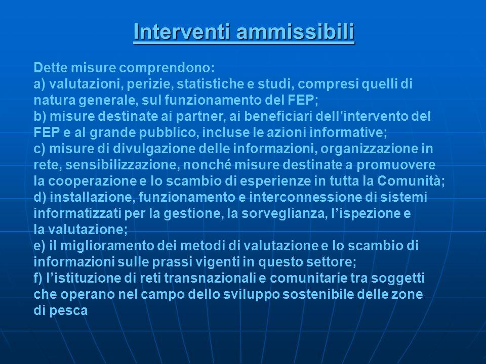 Interventi ammissibili Dette misure comprendono: a) valutazioni, perizie, statistiche e studi, compresi quelli di natura generale, sul funzionamento d