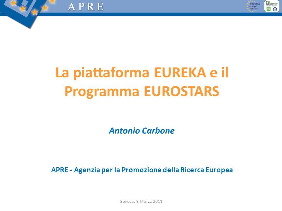 Genova, 9 Marzo 2011 La piattaforma EUREKA e il Programma EUROSTARS Antonio Carbone APRE - Agenzia per la Promozione della Ricerca Europea