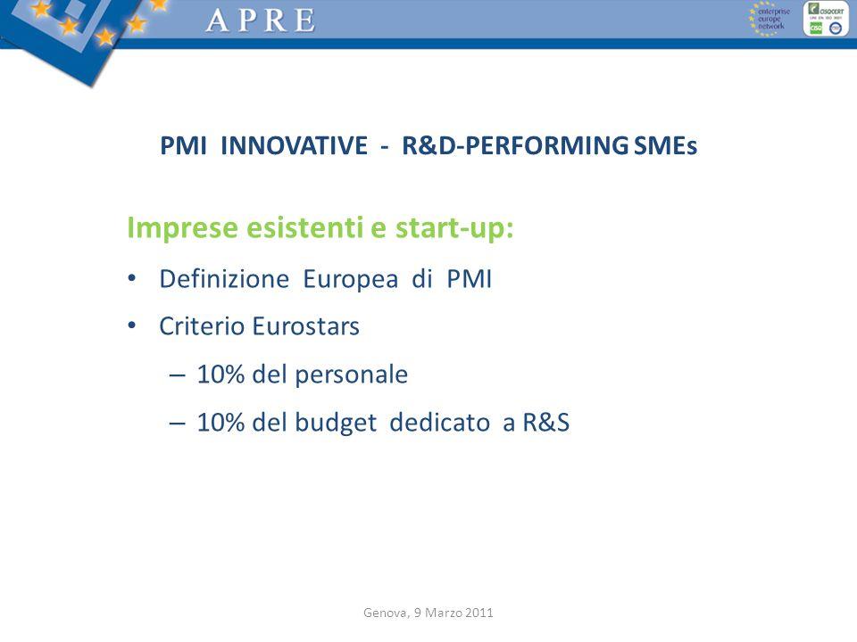 PMI INNOVATIVE - R&D-PERFORMING SMEs Imprese esistenti e start-up: Definizione Europea di PMI Criterio Eurostars – 10% del personale – 10% del budget