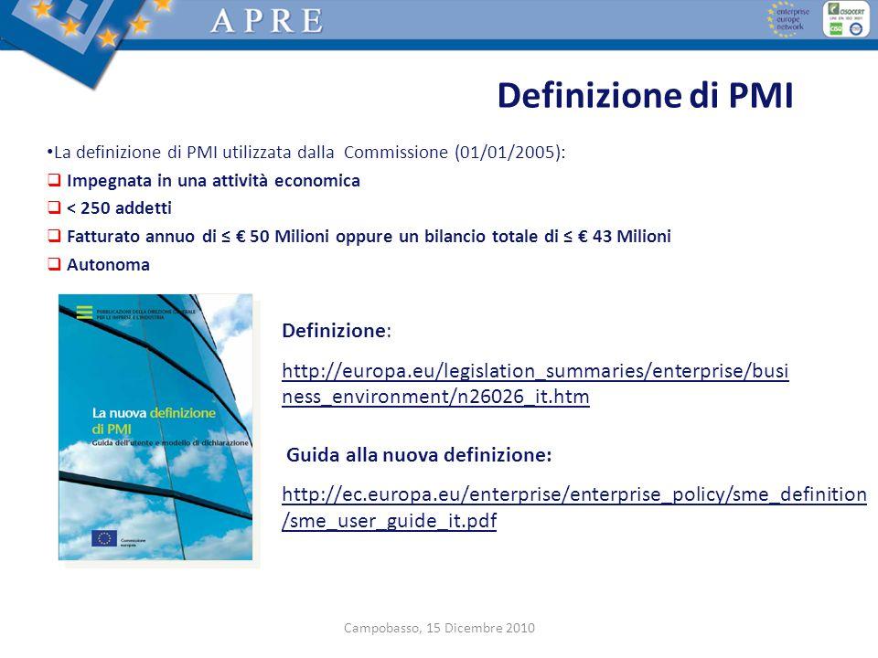 Definizione di PMI La definizione di PMI utilizzata dalla Commissione (01/01/2005): Impegnata in una attività economica < 250 addetti Fatturato annuo