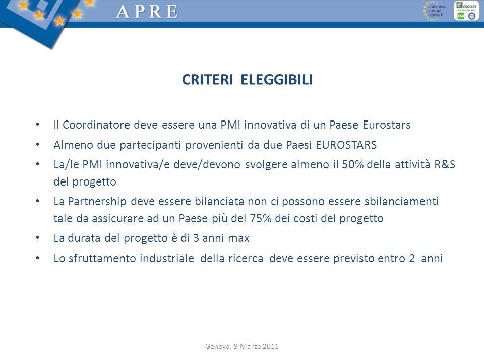 CRITERI ELEGGIBILI Il Coordinatore deve essere una PMI innovativa di un Paese Eurostars Almeno due partecipanti provenienti da due Paesi EUROSTARS La/