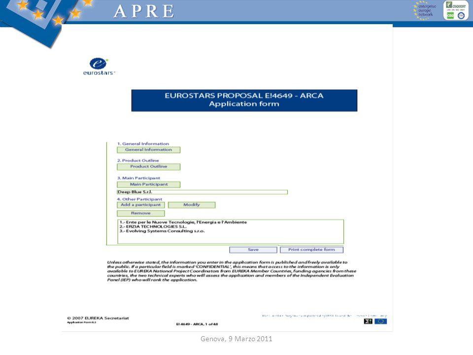 Application Form Genova, 9 Marzo 2011