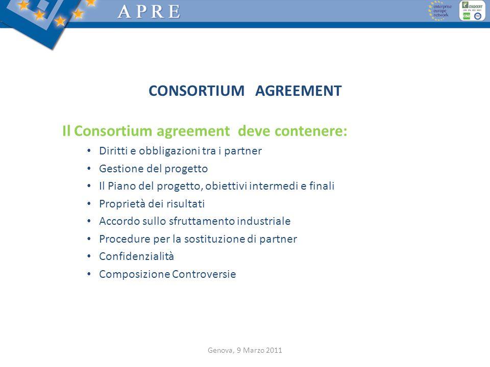 CONSORTIUM AGREEMENT Il Consortium agreement deve contenere: Diritti e obbligazioni tra i partner Gestione del progetto Il Piano del progetto, obietti