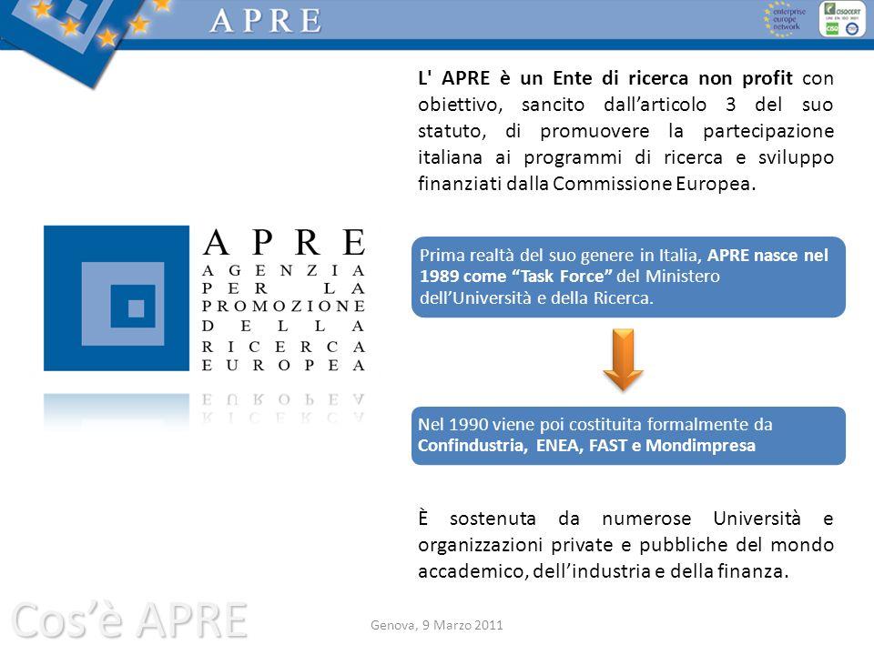 Cosè APRE L' APRE è un Ente di ricerca non profit con obiettivo, sancito dallarticolo 3 del suo statuto, di promuovere la partecipazione italiana ai p