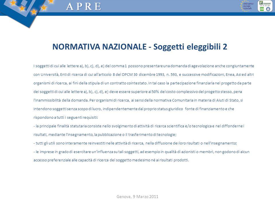 NORMATIVA NAZIONALE - Soggetti eleggibili 2 I soggetti di cui alle lettere a), b), c), d), e) del comma 1 possono presentare una domanda di agevolazio