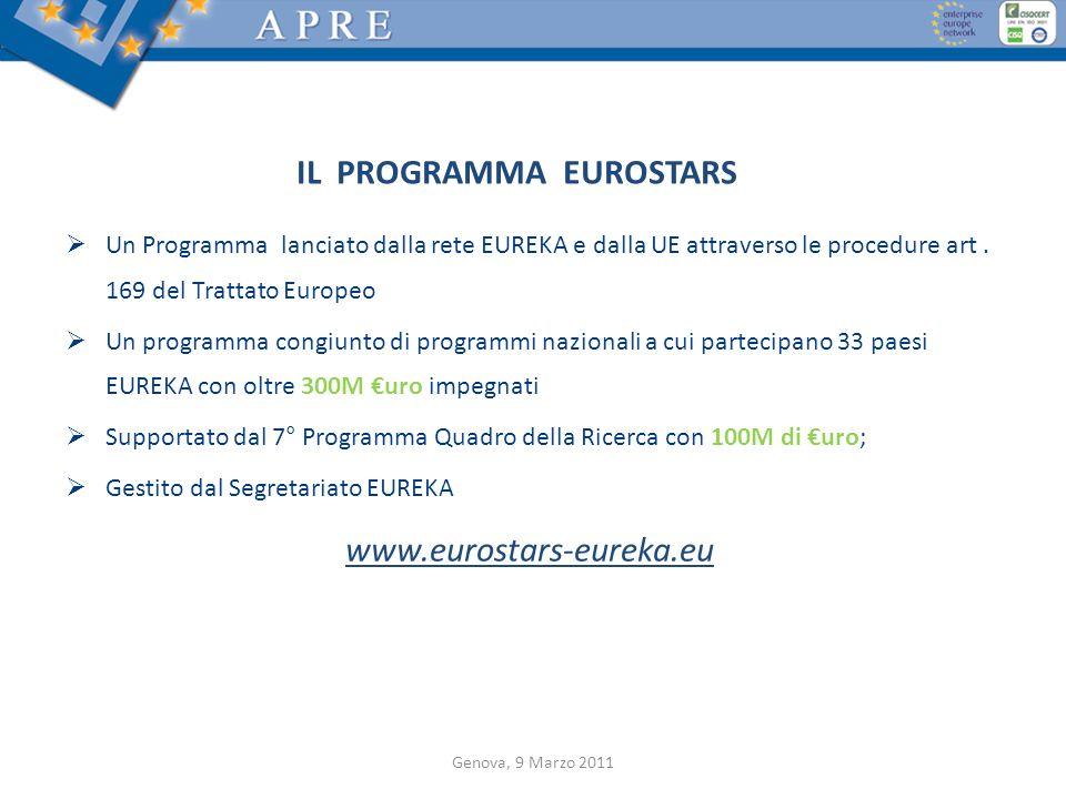 IL PROGRAMMA EUROSTARS Un Programma lanciato dalla rete EUREKA e dalla UE attraverso le procedure art. 169 del Trattato Europeo Un programma congiunto