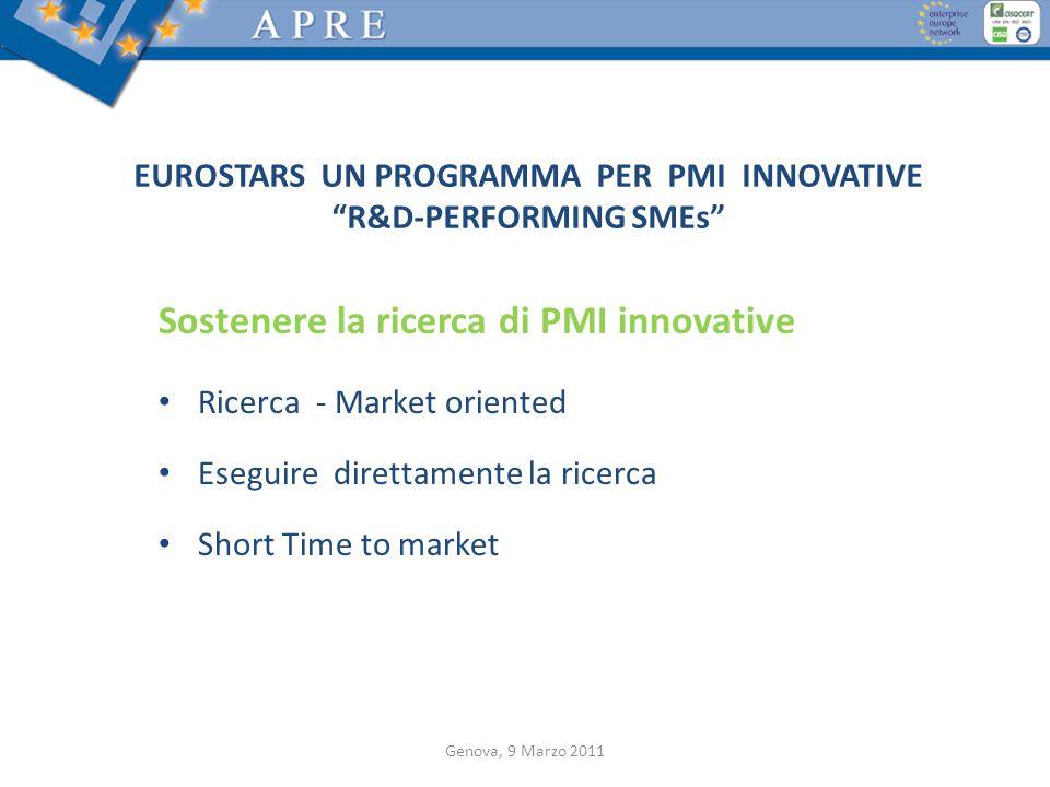 Sostenere la ricerca di PMI innovative Ricerca - Market oriented Eseguire direttamente la ricerca Short Time to market EUROSTARS UN PROGRAMMA PER PMI