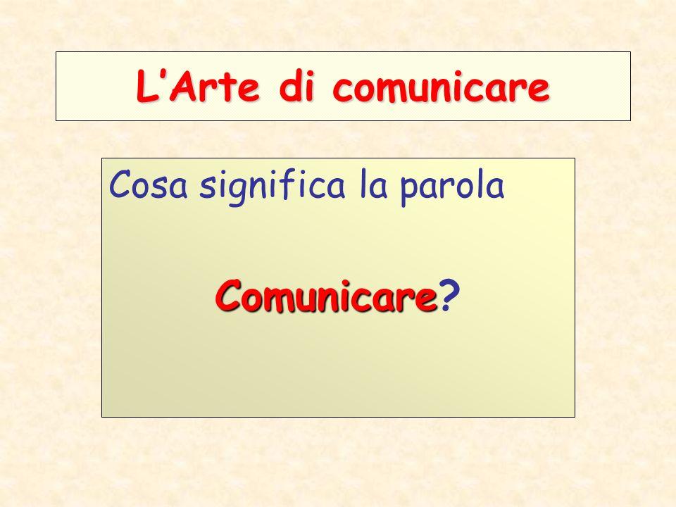 LArte di comunicare Cosa significa la parola Comunicare Comunicare?