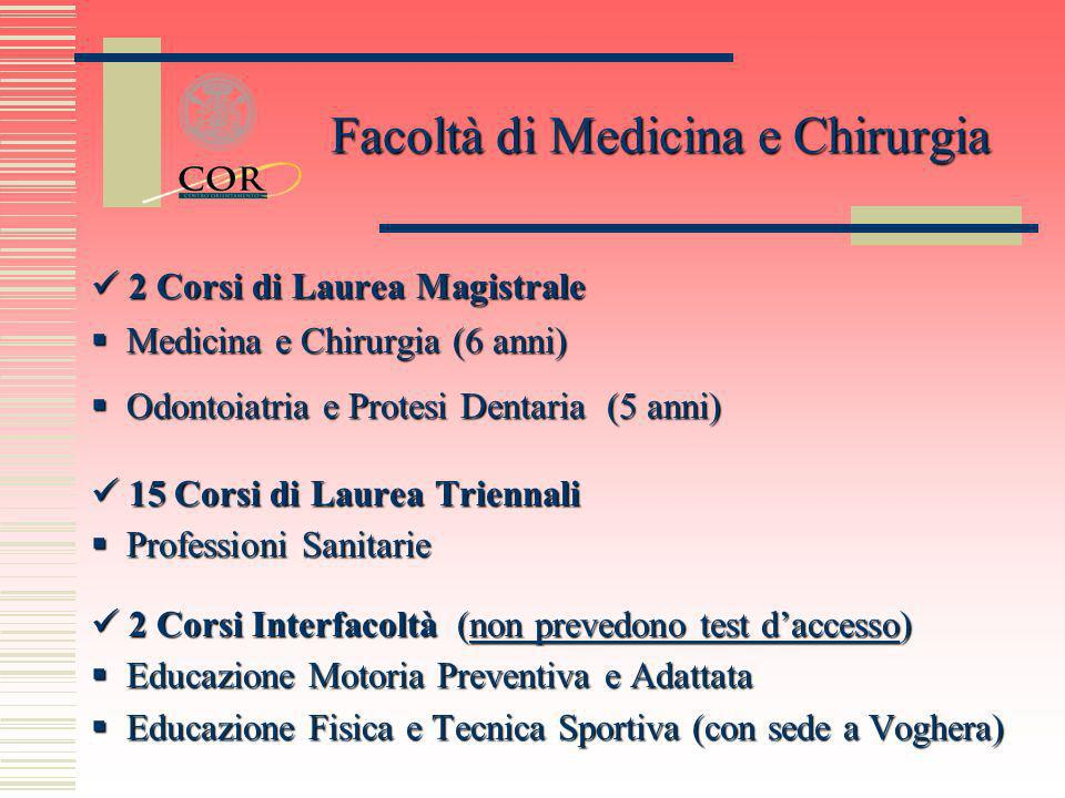 2 Corsi di Laurea Magistrale 2 Corsi di Laurea Magistrale Medicina e Chirurgia (6 anni) Medicina e Chirurgia (6 anni) Odontoiatria e Protesi Dentaria
