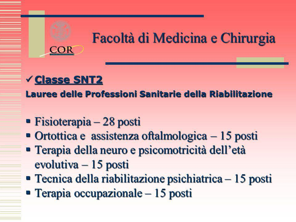 Classe SNT2 Classe SNT2 Classe SNT2 Classe SNT2 Lauree delle Professioni Sanitarie della Riabilitazione Fisioterapia – 28 posti Fisioterapia – 28 post