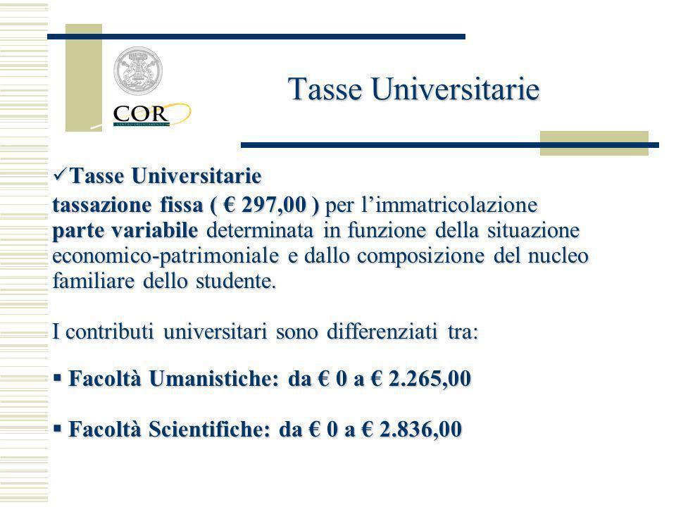 Tasse Universitarie Tasse Universitarie tassazione fissa ( 297,00 ) per limmatricolazione parte variabile determinata in funzione della situazione eco