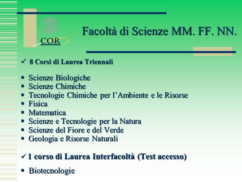 8 Corsi di Laurea Triennali 8 Corsi di Laurea Triennali Scienze Biologiche Scienze Biologiche Scienze Chimiche Scienze Chimiche Tecnologie Chimiche pe