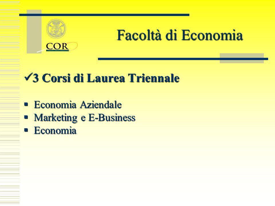 3 Corsi di Laurea Triennale 3 Corsi di Laurea Triennale Economia Aziendale Economia Aziendale Marketing e E-Business Marketing e E-Business Economia E