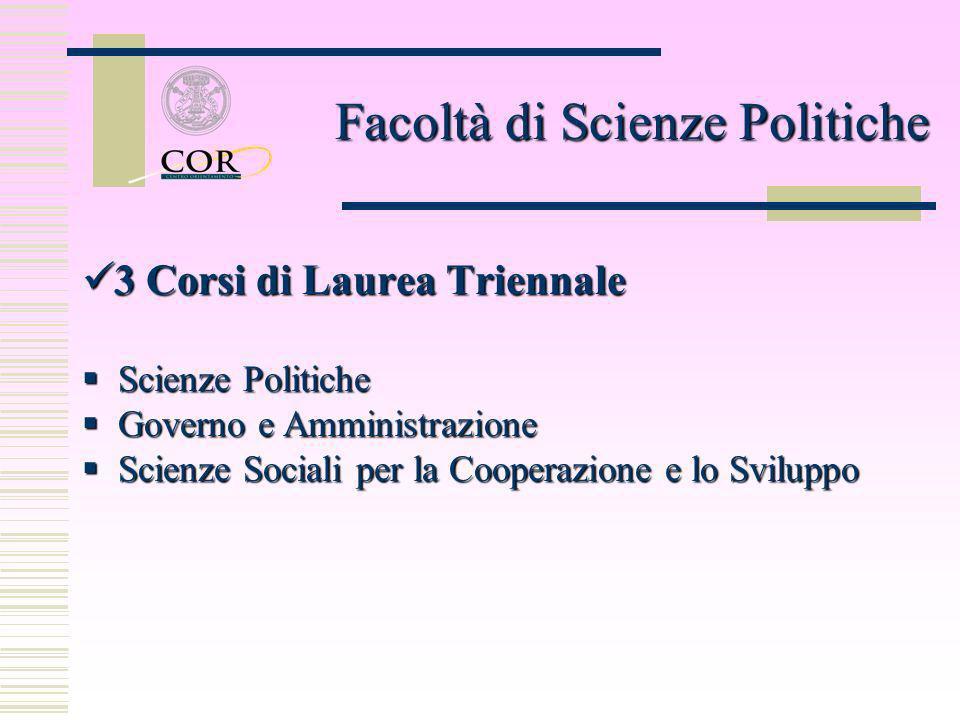 3 Corsi di Laurea Triennale 3 Corsi di Laurea Triennale Scienze Politiche Scienze Politiche Governo e Amministrazione Governo e Amministrazione Scienz