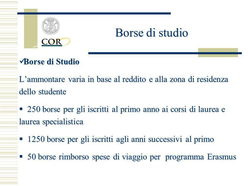 Borse di Studio Borse di Studio Lammontare varia in base al reddito e alla zona di residenza dello studente 250 borse per gli iscritti al primo anno a