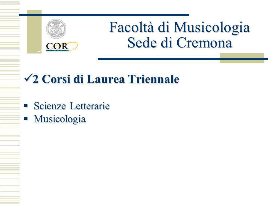 2 Corsi di Laurea Triennale 2 Corsi di Laurea Triennale Scienze Letterarie Scienze Letterarie Musicologia Musicologia Facoltà di Musicologia Sede di C