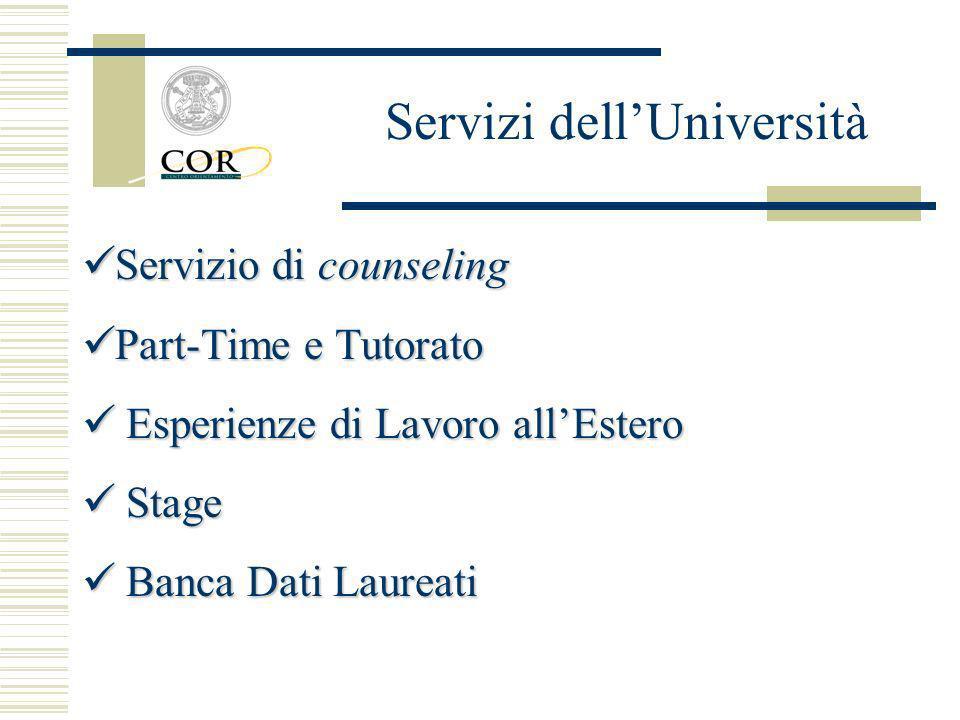 Servizio di counseling Servizio di counseling Part-Time e Tutorato Part-Time e Tutorato Esperienze di Lavoro allEstero Esperienze di Lavoro allEstero