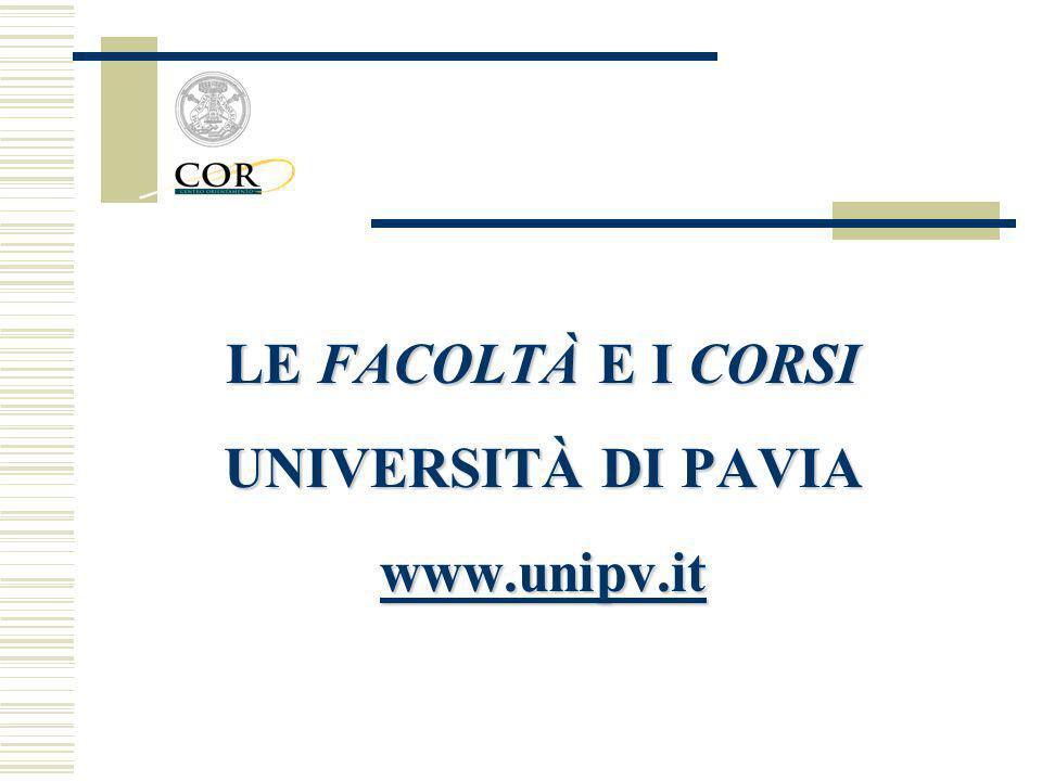 LE FACOLTÀ E I CORSI UNIVERSITÀ DI PAVIA www.unipv.it