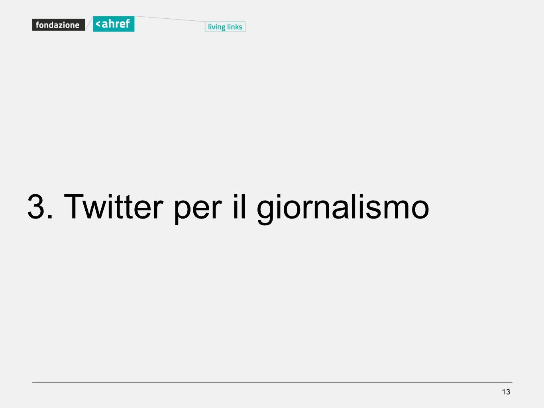 13 3. Twitter per il giornalismo