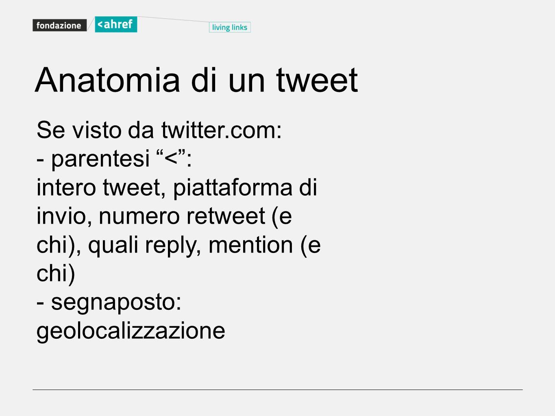 Se visto da twitter.com: - parentesi <: intero tweet, piattaforma di invio, numero retweet (e chi), quali reply, mention (e chi) - segnaposto: geoloca