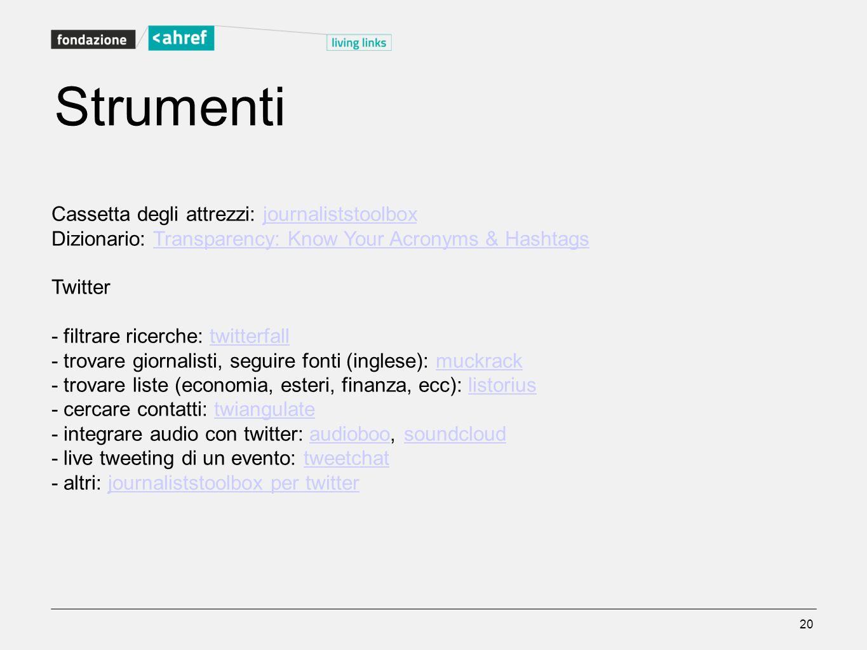 Strumenti Cassetta degli attrezzi: journaliststoolboxjournaliststoolbox Dizionario: Transparency: Know Your Acronyms & HashtagsTransparency: Know Your