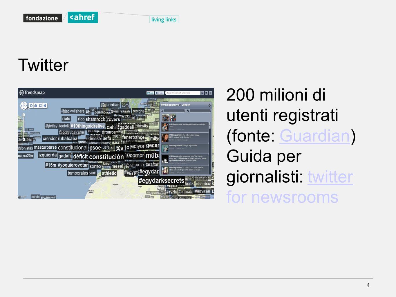 Twitter 200 milioni di utenti registrati (fonte: Guardian)Guardian Guida per giornalisti: twitter for newsroomstwitter 4